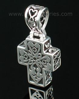 Sterling Silver Filigree Cross Cremation Urn Keepsake