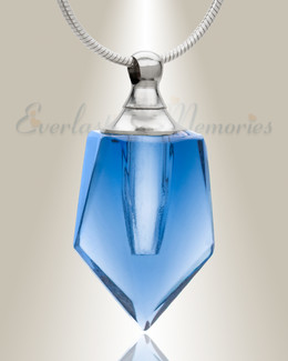 Glass Locket Blue Dedicated Cremation Pendant