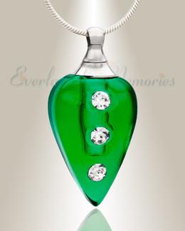 Glass Locket Emerald Merriment Memorial Pendant