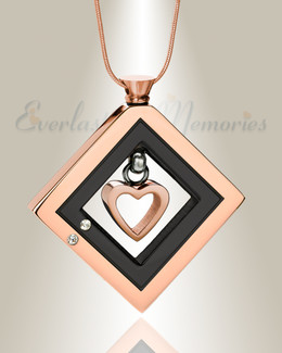 Rose Gold and Black Enchanting Heart Urn Pendant