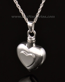 14k White Gold Double Heart Cremation Keepsake