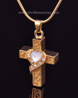 Gold Plated Heart Cross Memorial Pendant