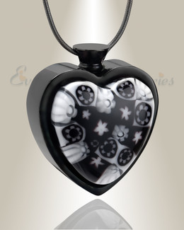 Cameo of Flowers Heart Cremation Locket
