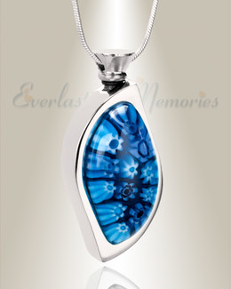 Pacific Blue Leaf Cremation Locket