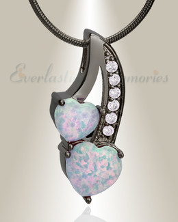 Black Pink Opal Calming Hearts Cremation Jewelry