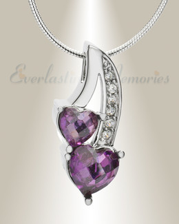 Purple Calming Hearts Memorial Jewelry