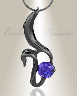 Black Simple Adoration Cremation Jewelry