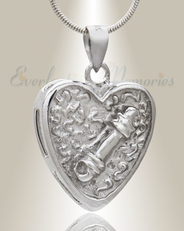 Silver Playful Heart Pet Memorial Jewelry