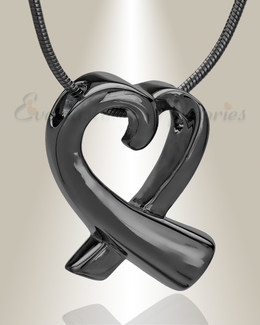 Black Plated Folded Heart Memorial Jewelry