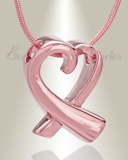 Rose Gold Plated Folded Heart Memorial Jewelry