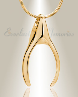 Gold Plated Wishbone Memorial Jewelry