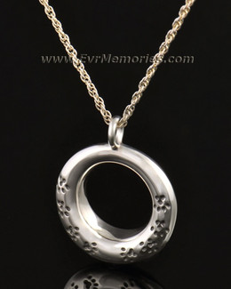 14k White Gold Imprinted Devotion Round Jewelry Pendant