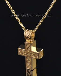 Gold Plated Carved Cross Urn Jewelry