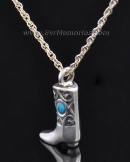 Silver Western Boot Jewelry Pendant