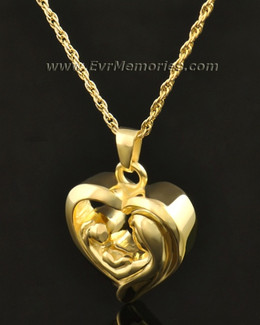 14k Gold Together in My Heart Memorial Pendant