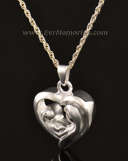 14k White Gold Together in My Heart Memorial Pendant