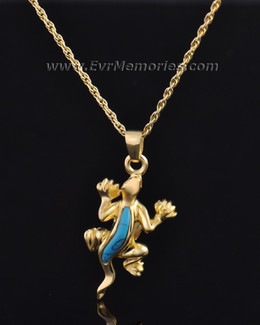 Gold Plated Gallant Gecko Memorial Pendant