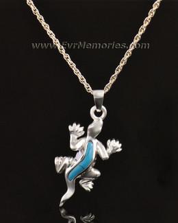 14k White Gold Gallant Gecko Jewelry Pendant