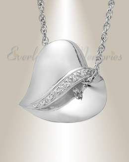 14k White Gold Thankful Heart Memorial Pendant