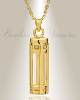 14k Gold Fulfillment Cylinder Memorial Pendant