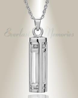 Sterling Silver Fulfillment Cylinder Memorial Pendant