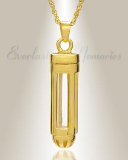 14k Gold Dashing Cylinder Memorial Pendant