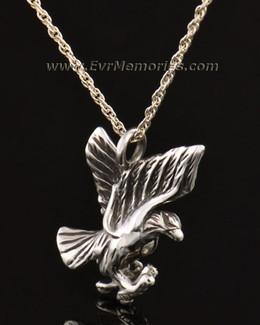 14k White Gold Stately Eagle Jewelry Pendant