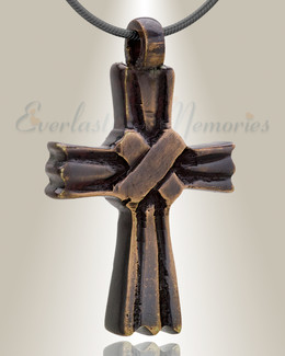 Brass Cloaked Cross Memorial Pendant