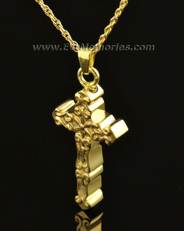 14k Gold Delicate Cross Memorial Locket