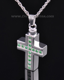 Sterling Silver Trusting Cross Memorial Locket