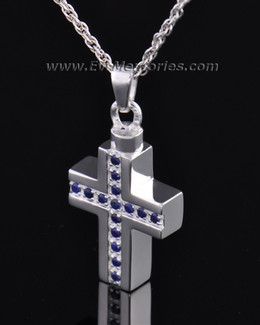 Sterling Silver Indigo Cross Memorial Locket