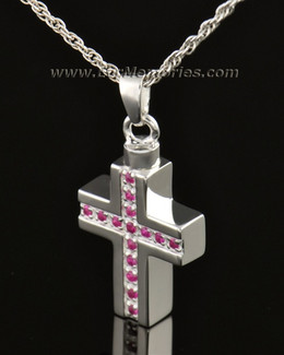 14k White Gold Spiritual Cross Memorial Locket