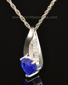 14k White Gold Deep Blue Heart Memorial Locket