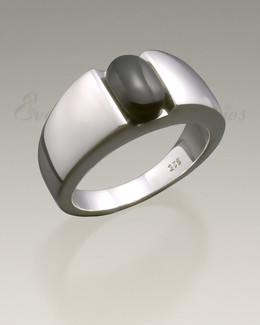 Men's Silver Simply Sable Ashes Ring