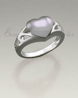 Women's Silver Caring Heart Ring Jewelry Urn