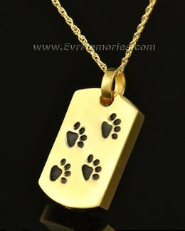 14k Gold Walking Along Rectangle Pet Urn Pendant