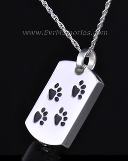 Sterling Silver Walking Along Rectangle Pet Memorial Locket