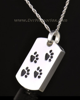 14k White Gold Walking Along Rectangle Pet Memorial Locket