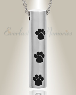 Stainless Steel Black Impressions Pet Jewelry Urn