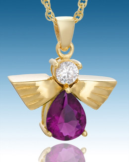 Gold Plated Divine Messenger with Purple Stone Keepsake