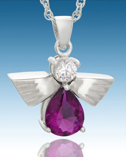 Sterling Silver Divine Messenger with Purple Stone Keepsake