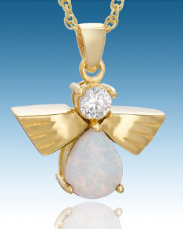 Gold Plated Divine Messenger with Opal Keepsake