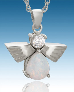 Sterling Silver Divine Messenger with Opal Keepsake