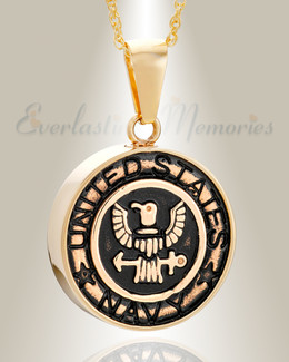 Gold Plated Navy Medal Pendant Keepsake
