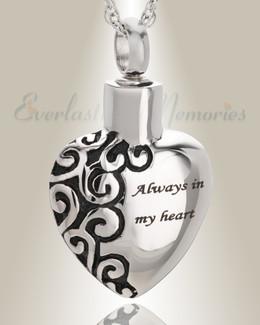 Stainless Steel Attentive Heart Pendant Keepsake