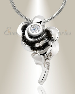 Black Plated Radiant Rose Memorial Jewelry