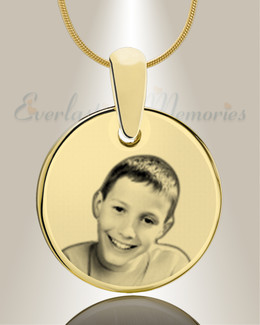 Round Photo Engraved Gold Plated over Stainless Keepsake