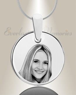 Round Photo Engraved Stainless Keepsake