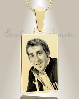 Rectangle Photo Engraved Gold Plated over Stainless Keepsake