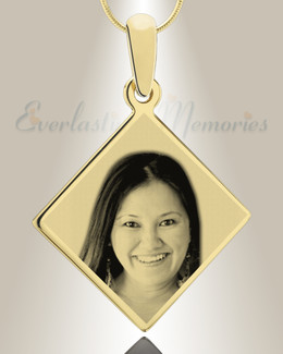Diamond Photo Engraved Gold Plated over Stainless Keepsake